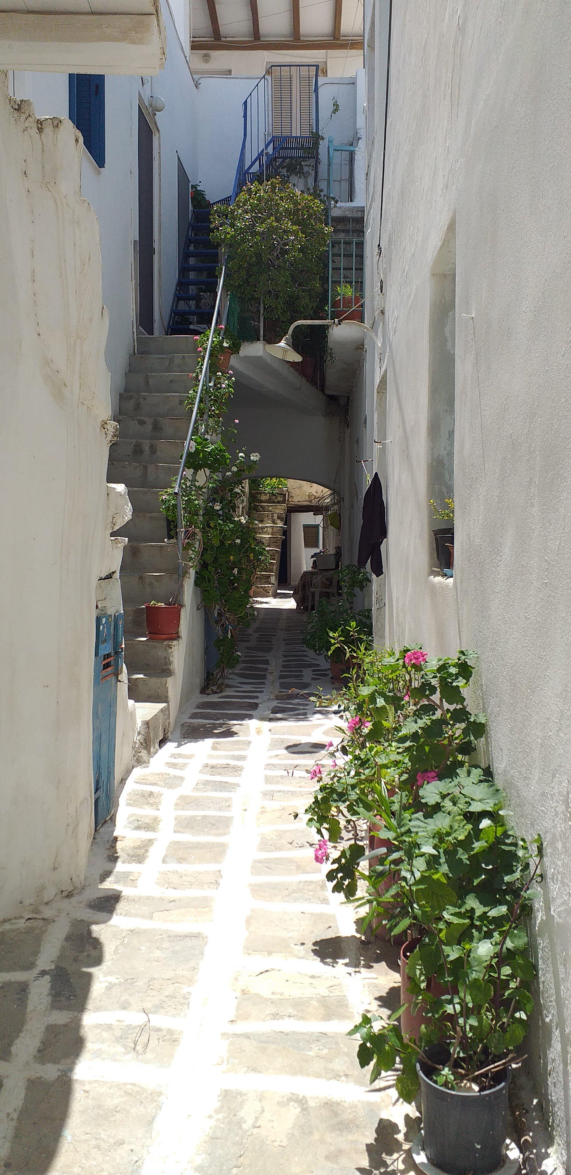 Paros Parikia cobblestone streets Greek Islands
