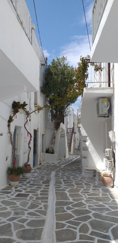 Paros Parikia cobblestone streets Greek Islands